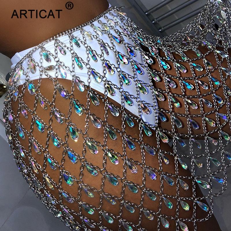 Nadler 最も安い メタルグリッタークリスタルダイヤモンドスカート女性ハイウエスト中空アウトスパンコールボディコンミニスカートナイトクラブパーティースカート Mobile
