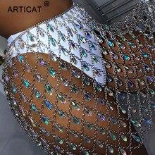 Articat メタルグリッタークリスタルダイヤモンドスカート女性ハイウエスト中空アウトスパンコールボディコンミニスカートナイトクラブパーティースカート