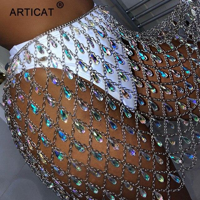Articat Metal Glitter Crystal Diamonds Skirt Women High Waist Hollow Out  Sequin Bodycon Mini Skirt Nightclub Party Skirt Outfits ae2b7ead426f