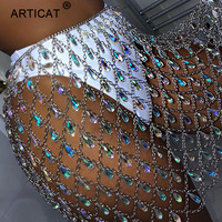 Articat Metal Glitter Crystal Diamonds Skirt Women High Waist Hollow Out Sequin Bodycon Mini Skirt Nightclub Party Skirt Outfits