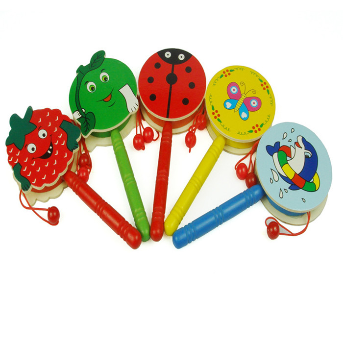 Baby Kids Children Shaking Wooden Rattle Drum Musical Hand Bell Drum Toy Early Childhood ...