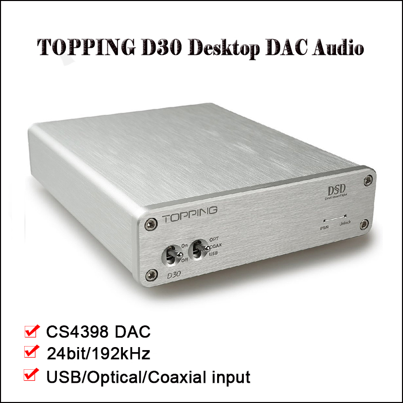 TOPPING D30 Hifi Amplificatore DAC Audio Desktop DSD DAC USB In Fibra Ottica Amplificatore Audio Decoder CS4398 Amplificatori XMOS DAC Amp