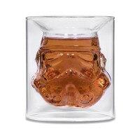 Diseño fresco de Star Wars Stormtrooper Whisky Vino Cerveza Vaso De Agua taza de la Botella de 150 ml de Cristal Tiro Doble Capa de Té de Café de Cristal taza