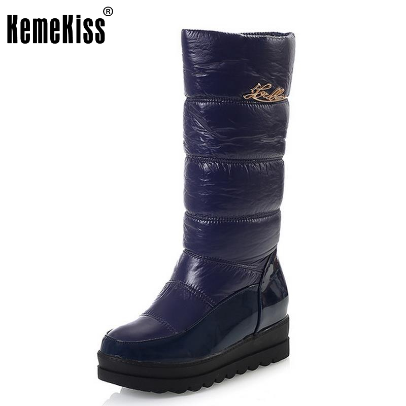 Women Boot High Quality Russia Warm Thick Fur Snow Boots Round Toe Winter Flat Shoes Woman Keep Warm  Knee Botas Size 34-39 nemaone 2017 new fashion russia keep warm snow boots round toe platform knee high boots winter shoes women boots