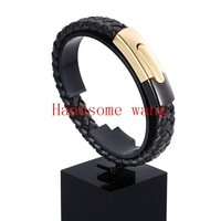 New Trendy Men S Black Braided Leather Rope Bracelet Cuff Bangle Stainless Steel Clasp 316L Stainless
