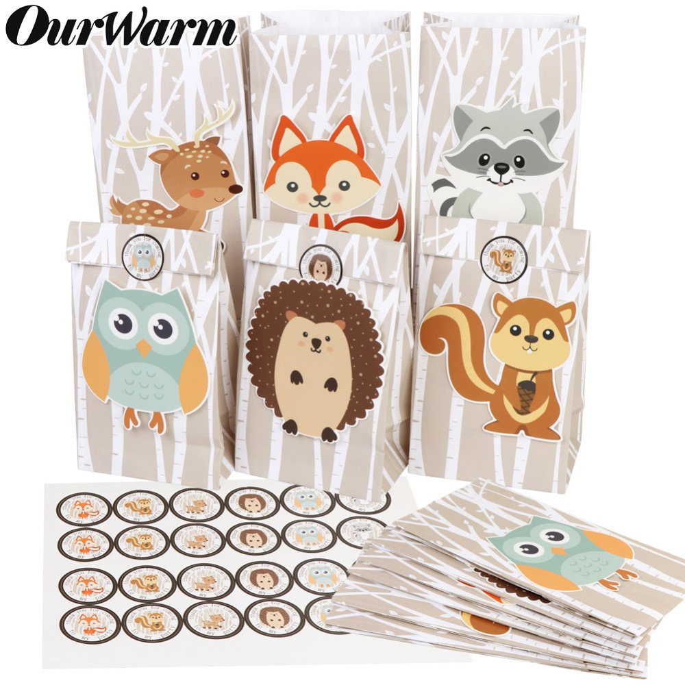 OurWarm 12Pcs Safari Animals Paper Gift Bag Jungle Party Decorations Sweet Candy Packaging Bags Woodland Birthday Party Supplies