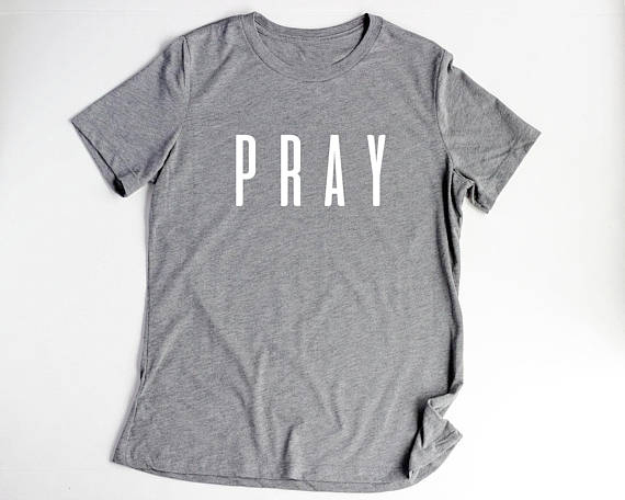 7d61a9308e693 Women s Tee Pray Christian T Shirts Fashion Clothes Women s Tshirt Easter  T-shirt Letter Print Gery Tees Tops