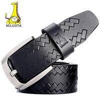[Miluota] أزياء أحزمة للرجال حزام الذكور دبوس مشبك خمر بقرة حقيقية الجلود الفاخرة حزام الرجل MU061