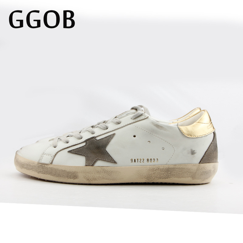GGOB 2018 Handmade Casual Shoes Walking Distressed Vintage Genuine Cowhide Leather Woman shoes Brand Lace-up Flat shoes Sneakers
