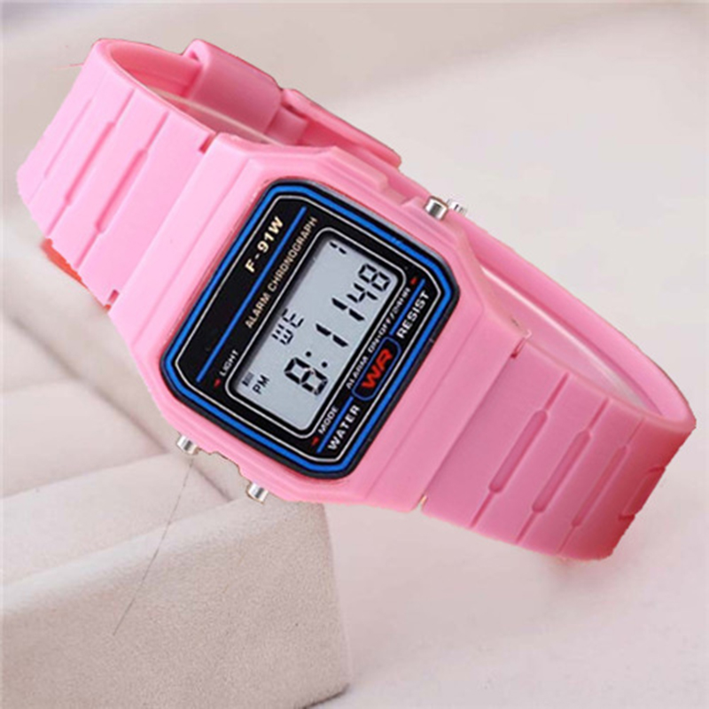 Pink Children Digital Watches Silicone Strap Boys Girls Electronic Watch Chronograph Alarm Cute Students LED Clock Montre Enfant(China)