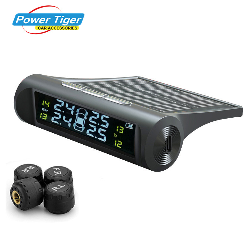 2018 New Solar Power TPMS Wireless Tire Pressure Monitoring System Car tyre pressure alarm System With LCD color display tpms lcd display car wireless tire tyre pressure monitoring system 4 internal sensors for cars solar power d10