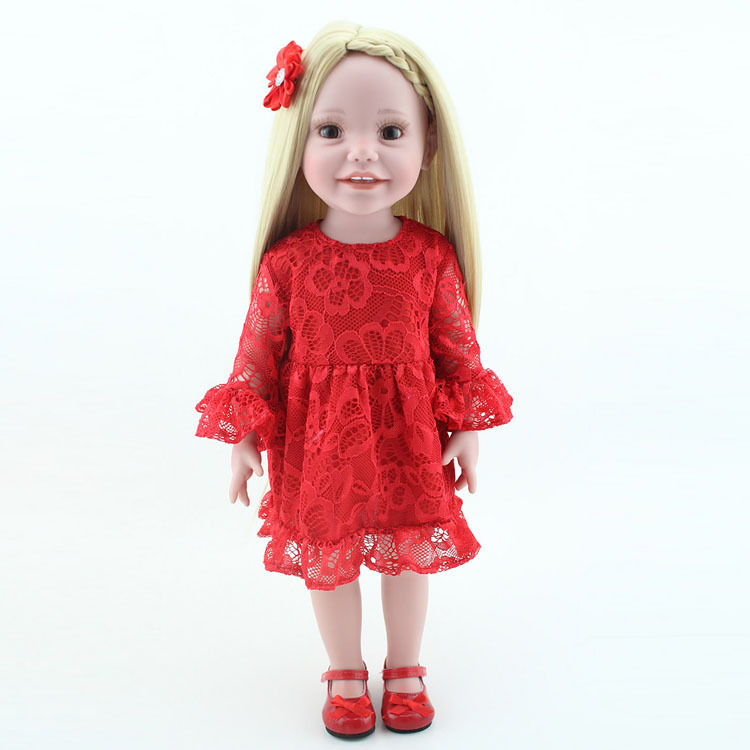 Realistic 18 inch Vinyl Girl Doll Adorable Alive American Baby Doll Toy With Beauty Red Lace Dress Clothes Kids Gift american girl doll clothes 4 styles elsa blue lace princess dress doll clothes for 16 18 inch dolls baby doll accessories x 2