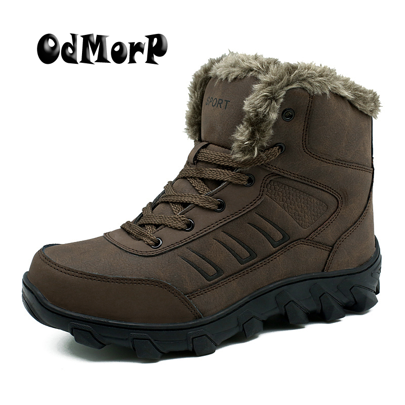 ODMORP Men Winter Snow Shoes Man Leather Boot Russian Warm Ankle Boots High Quality Rubber Strong
