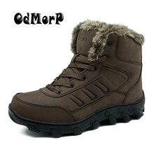 Odmorp Для мужчин зимние сапоги мужские кожаные ботинки российские Теплые ботильоны высокое качество резины сильный вне пушистый Мужские зимние сапоги