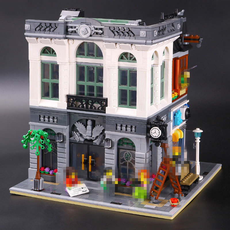LEPIN 15001 City Street Brick Bank Model Building Assembling Blocks Bricks Toy Compatible With 10251 Educational Funny Toy 2016 neue lepin 15001 2413 stucke creator ziegel bank modellbau kits blocks bricks spielzeug kompatibel junge brithday geschenk