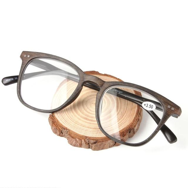 2018 New Imitation Wooden Color Oversize Plastic Frame High-grade Presbyopia Glasses Frame Spring Reading Glasses with Degree