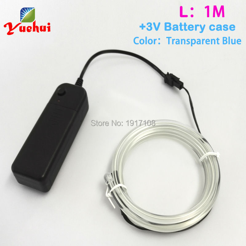Hot sales 5.0mm Choice Trendy EL wire glowing Neon Thread 1Meter 10 Color Powered by2-AA for night party decoration