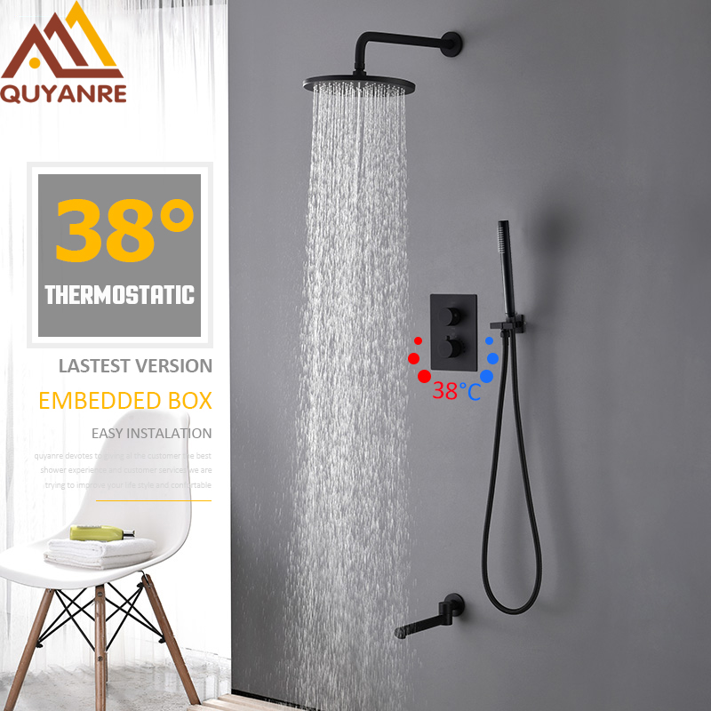 Quyanre 3-way Matte Black Thermostatic Bath Shower Faucet Round Shower Embedded Box Thermostatic Mixer Swivel Tub Spout Faucet quyanre matte black shower faucet set 4 way shower with commodity shelf bidet spray swivel tub spout 4 way mixer tap bath shower