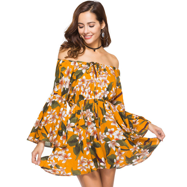 f260741d9d98a Plus Size XXL viscose floral print off shoulder dress mini summer dress  2018 lace up beach wear bohemian swing dress vestidos