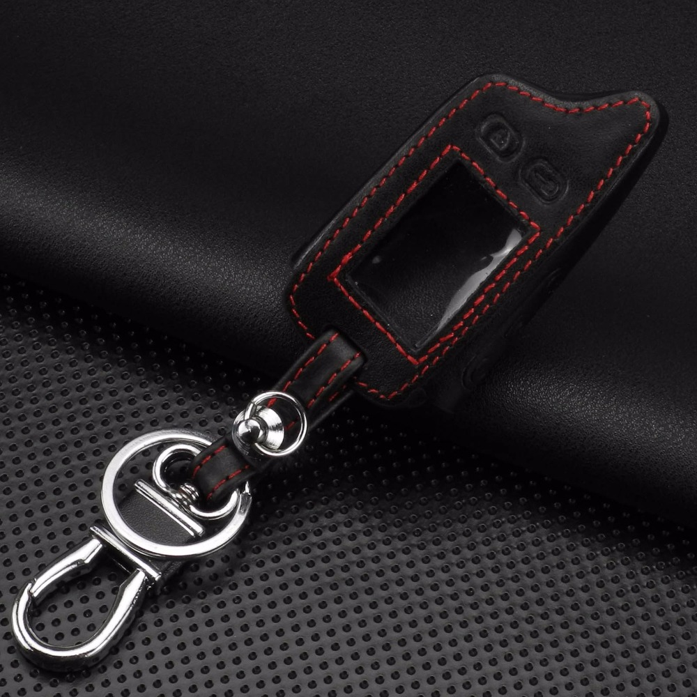 Image 2 - jingyuqin 5 Buttons Remote Leather Key Cover Case For Tomahawk TW9010 TW9030 Two Way Alarm System LCD Controller Keychain-in Key Case for Car from Automobiles & Motorcycles