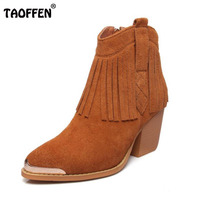 TAOFFEN Women Real Leather High Heel Boots Tassel Metal Mid Calf Boots With Warm Fur Shoes