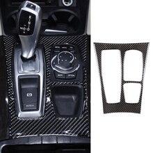 1pc Carbon Fiber Decorative Gear Box Sticker Trim For BMW X5 X6 E70 E71 2008-2013 Accessory