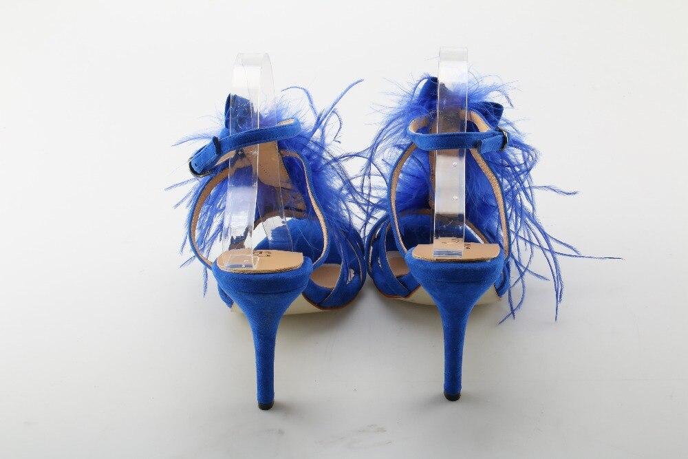 Picture Chaussures Élégant Boucle Charme Talons Femme Bleu Solide Super Chat Haute Parti marche Sandales Beertola As D'été Mince xTq44U