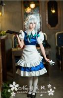 Anime Touhou Project Izayoi Sakuya Lolita Maid Cosplay Costume Full Set Dress+Apron+Headwear+Bowknots+Tie