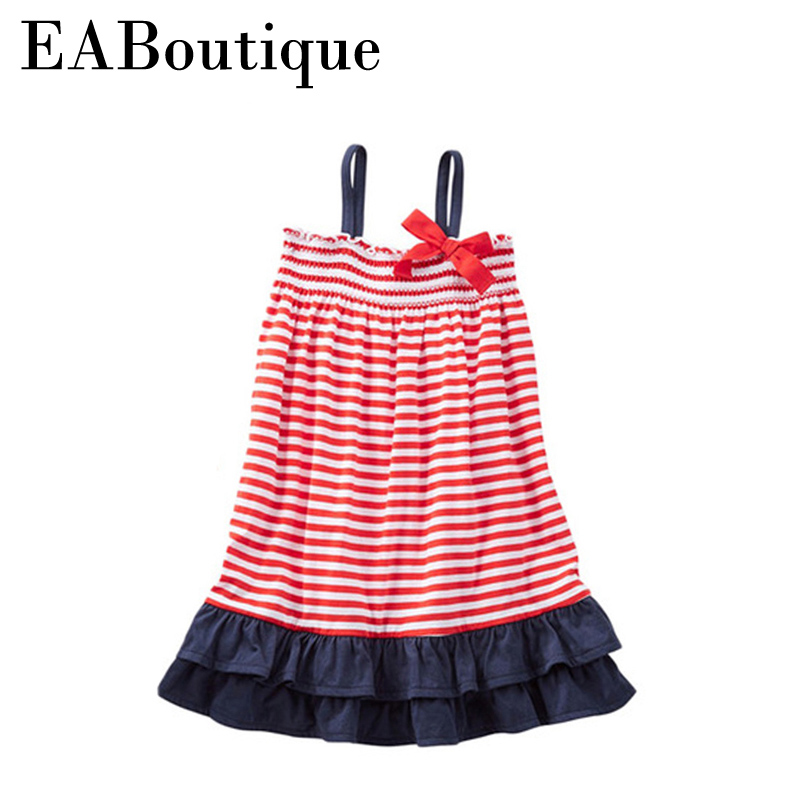 все цены на New summer style girl jersey dress red and white striped ruffle bow design retail 100% cotton kids girl clothes CX