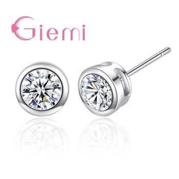 Classic Round Cubic Zircon Stud Earring For Women Girl Gifts 925 Sterling Silver Austrian Crystal Bijoux one pair Hot Sale