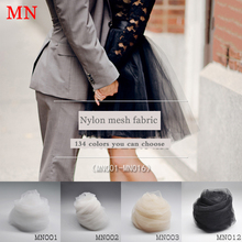 2meter/lot nylon Black mesh perspective skirt mid-length fashion fabric medium hard white beige color light gauze