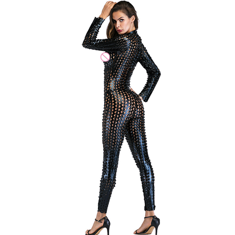 Gothic Punk Rock Scaly One Piece Jumpsuit Women Metallic Hollow Out Catsuits Sexy Wet Look Vinyl Leather Bodysuit Black Gold (2)
