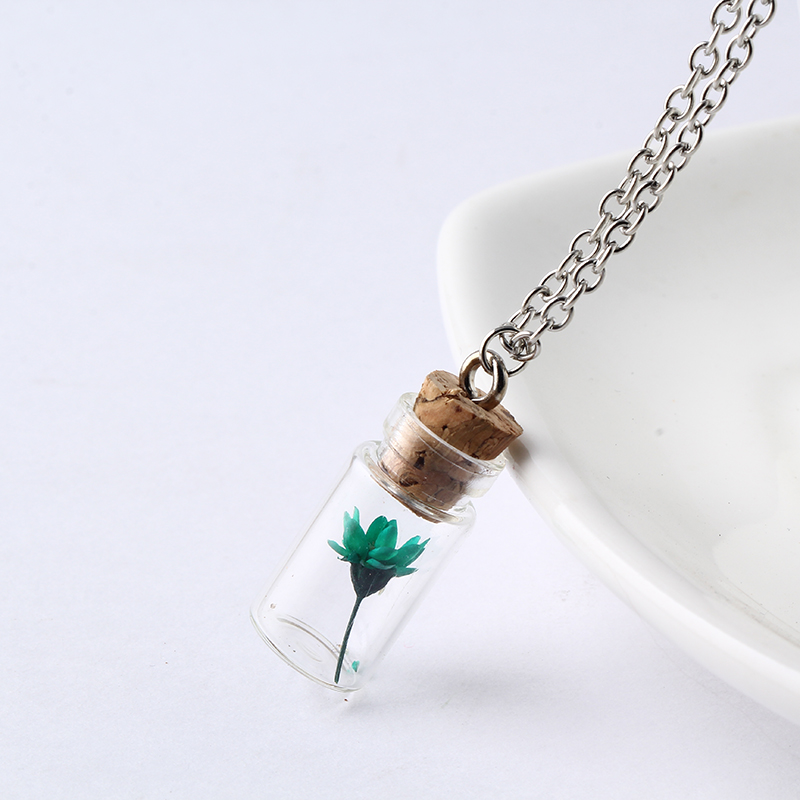 Glass Bottle Necklace Dream Flower in Glass Long Necklace Make A Wish Glass Bead Orb Silver Plated Necklace Jewelry NW2236 glass bottle