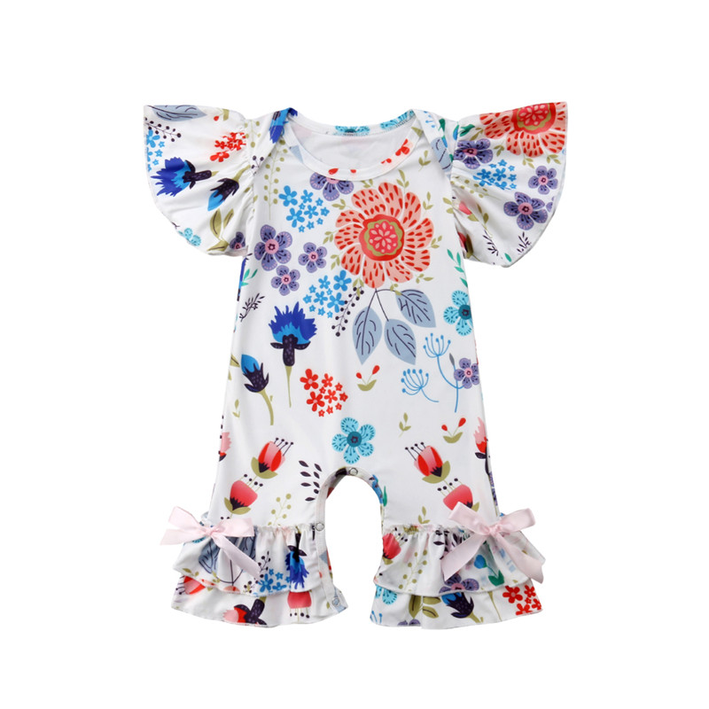 0-24 Month Baby Girls Summer Clothes 2018 Infant Baby Girls Short Sleeve Romper Cotton Ruffles Bow Jumpsuit Floral Print Romper