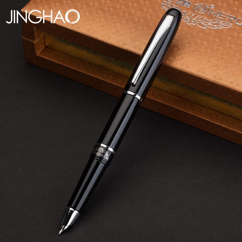 Hero Metal Silver Clip Black Art Calligraphy Fountain Pen Student Ink Pens 0.5mm Business Gift Office School Supplies 9901 fine financia pen student pen art fountain pen 0 38 0 5 0 8mm optional gift box set