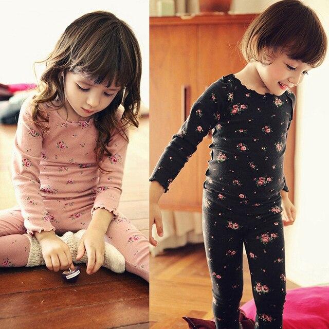 Новых детей пижамы девушки хлопок цветочные пижама комплект малыша блузки и брюки 2 шт. устанавливает детей костюм девушка пижамы