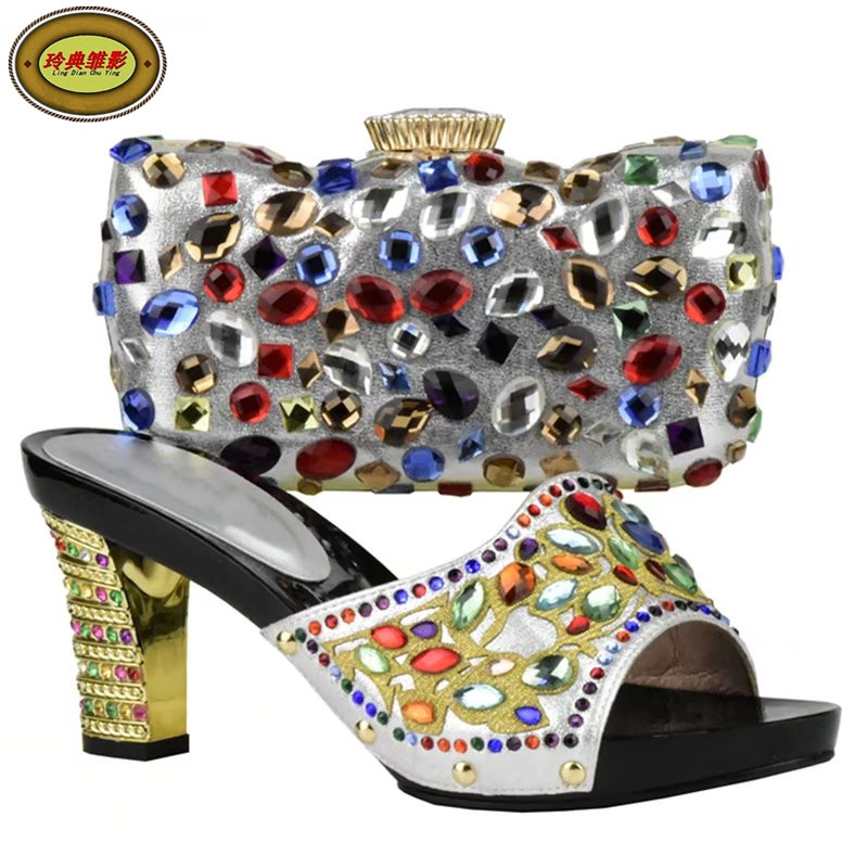 DS17 High Quality Beauty African Rhinestones High Heels Shoes and Bag Set Beautiful Design European Ladies Slipper And Bags Sets 505 7 1 silver beautiful design european ladies shoes and bags sets high quality italian shoes and bag set free shipping