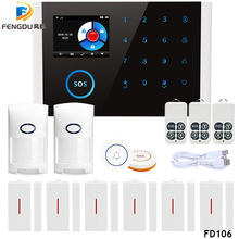 2019 Newest Wireless Home Security WIFI GSM GPRS Alarm System APP Remote Control Disarm System With 2.4 inch TFT Touch цена и фото
