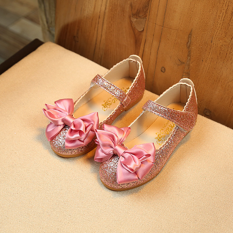Elegant Girls Shoes Fashion Princess Flat Shoes For Kids Toddler Girl Big Children Flats With Ribbon Bow-knot Shiny Sequins Soft