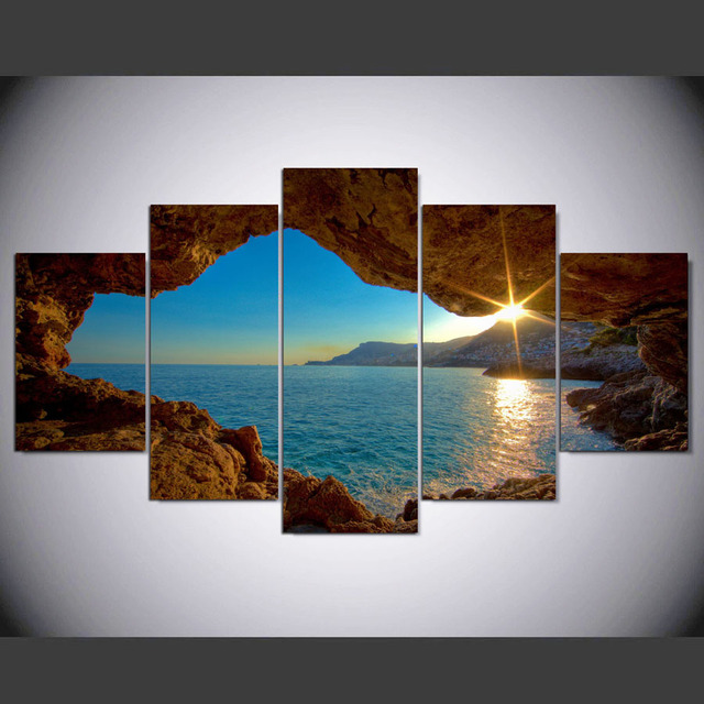 Hd 5 Pezzi Moderna Marino Paesaggio Stampa Artistica Su Tela Di Arte