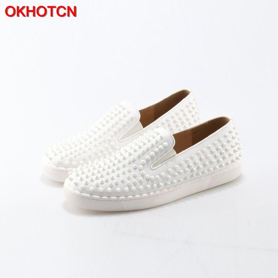 OKHOTCN 2018 New Shoes Man White Leather Cozy Flats Loafers Rivets Round Toe Men Dress Wedding Shoes Fashion Footwear Sneaker