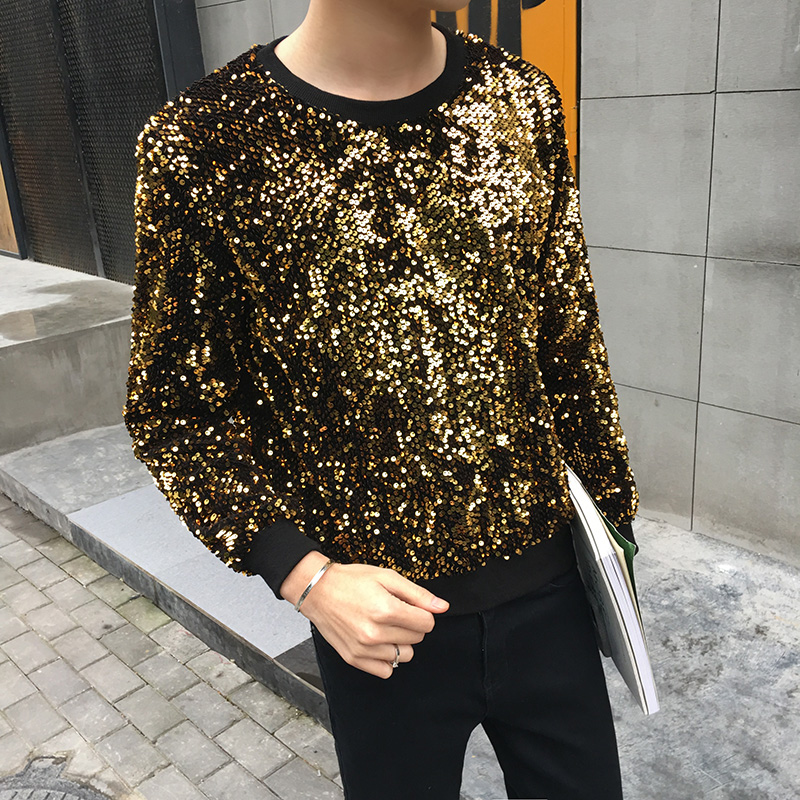 2017 Mens Gold Sequins Sweatshirts Stage Clothing Stage Costume BlingBling Night Club Outfits