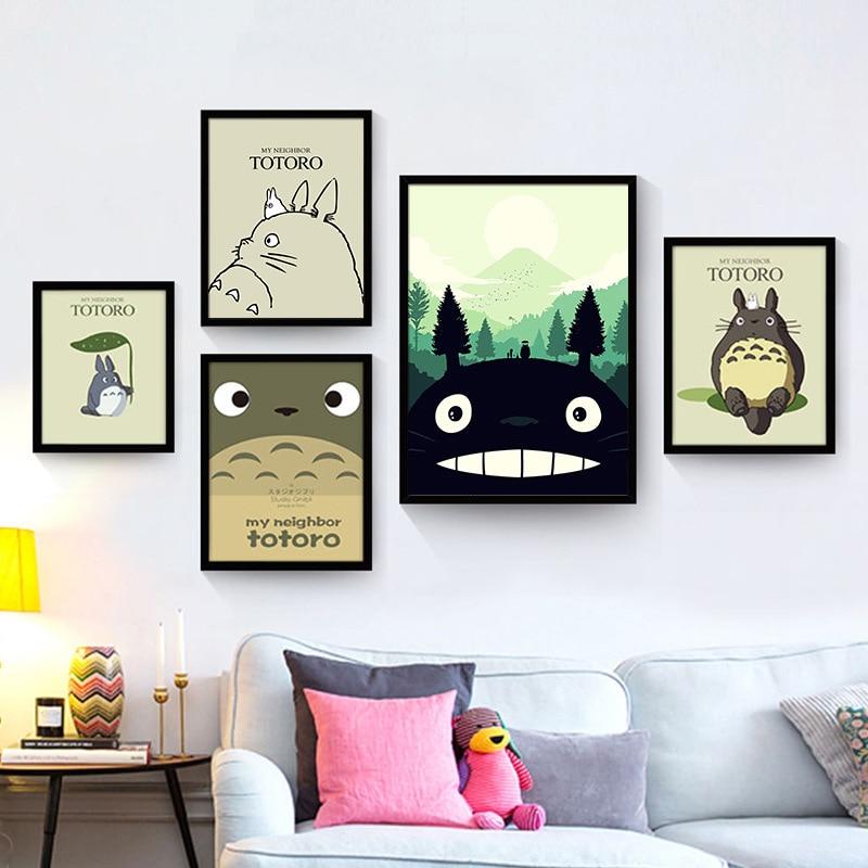 ᗔAnime Totoro pintura sobre lienzo madera enmarcado Decoración para ...