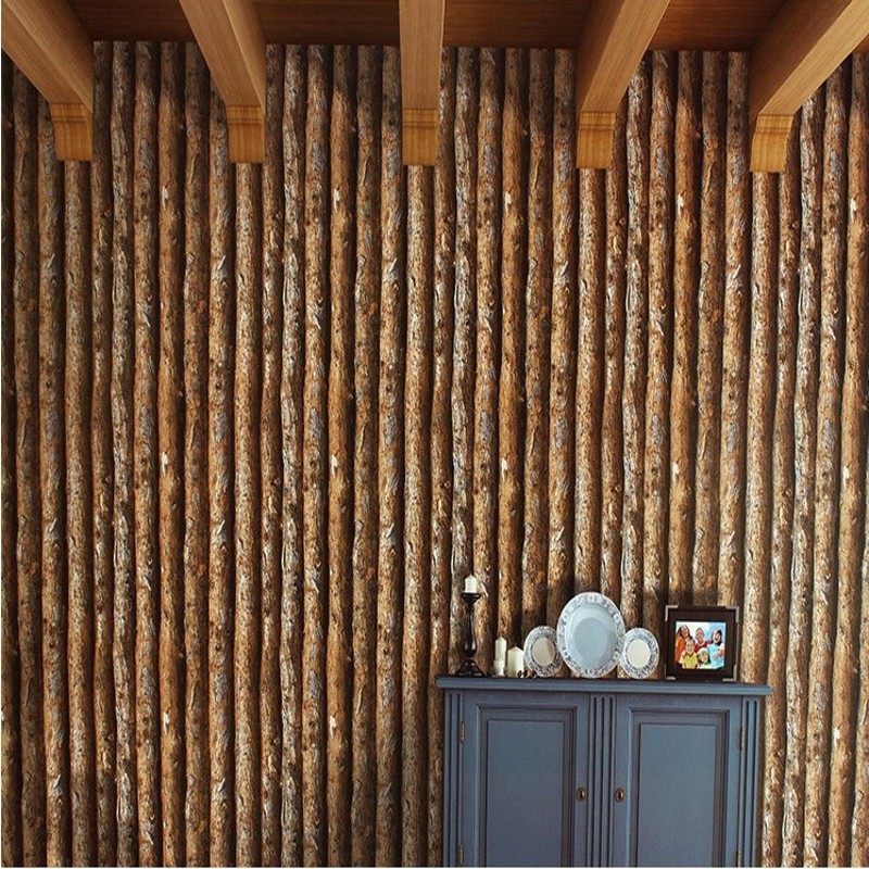 Free Shipping Retro Chinese style imitation bark wood wallpaper characteristics restaurant cafe clothing store wallpaper