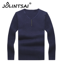 Fashion Pullover Men V Neck Sweater With Button Autumn Men Solild Jackets Male Sweaters Casual Brand