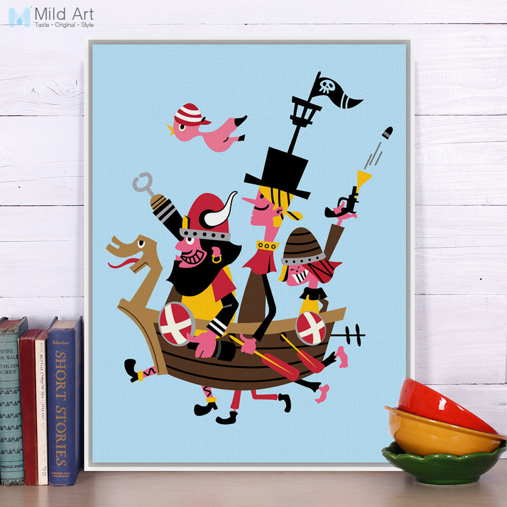 Pirate Game Blue Modern Abstract A4 A3 Poster Print Hipster Cartoon Picture Hippie Large Canvas Painting Kids Room Wall Art Gift