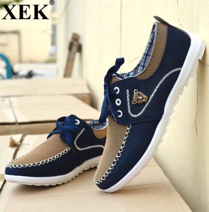 XEK 2018 dos homens Novos Sapatas de Lona vulcanizada shoesShoes Tamanho Grande 39-46 para Homens Condução Sapatos Macios Comfortatble homem Calçado ZLL22