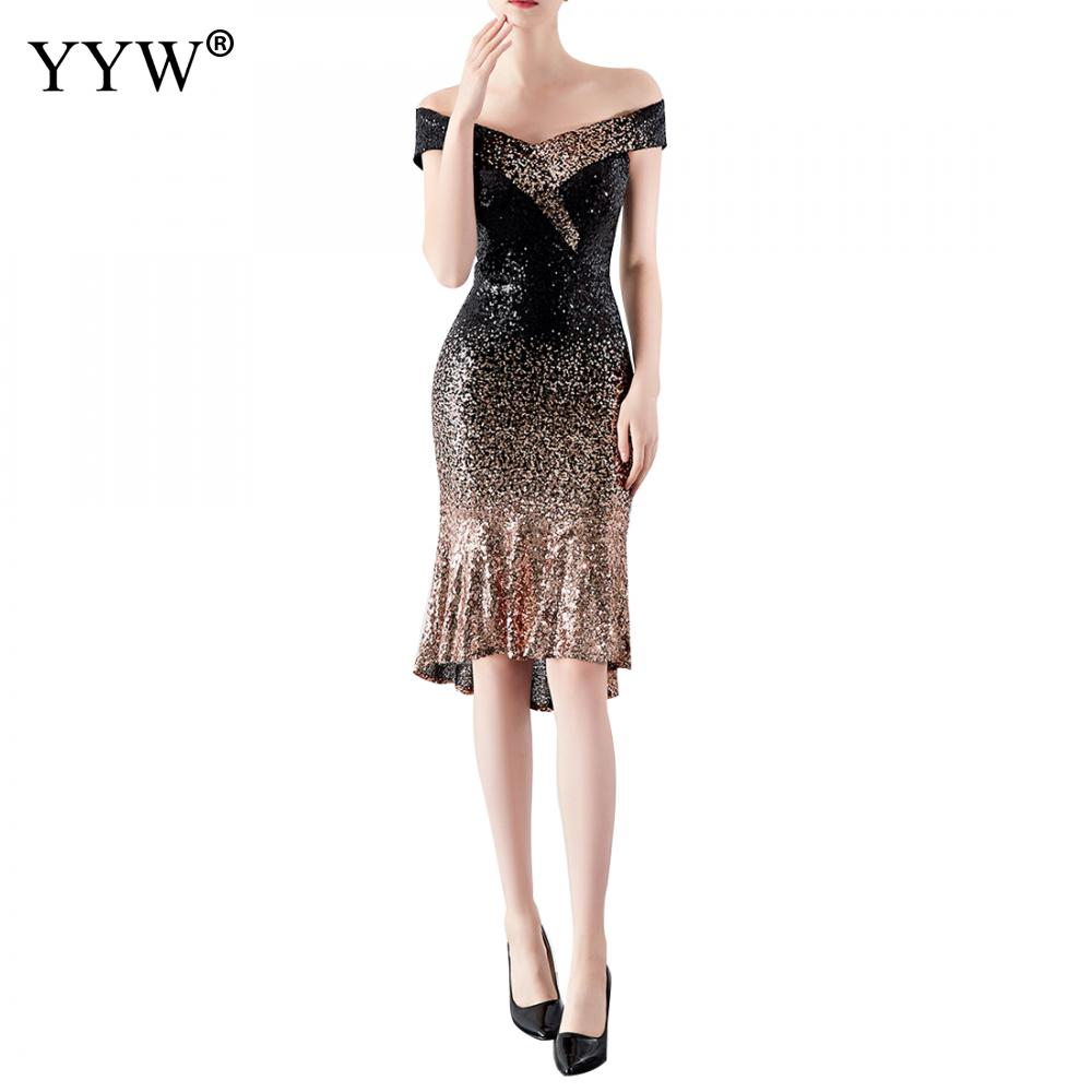 2019 Europe And America Elegant Short Mermaid   Evening     Dress   Vintage Gradient Sequin   Dress   Package Hip Sexy Cocktai Party   Dresses