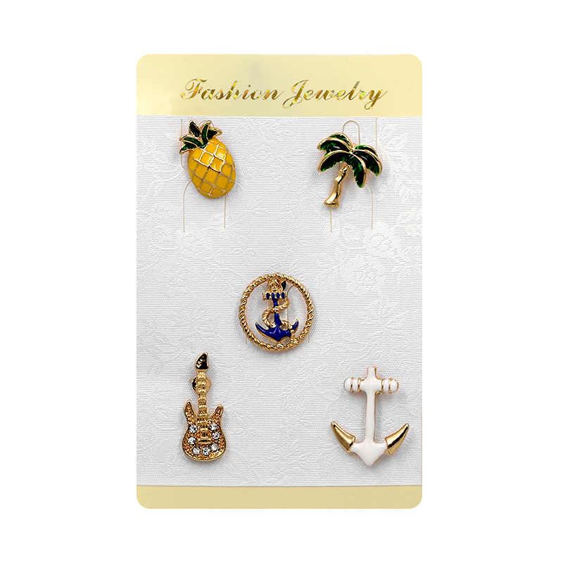 WEIMANJINGDIAN مجموعة من 5 أجزاء المينا و مقلد دبابيس زنية من اللؤلؤ على شكل زهرة لحقائب اليد أو أحذية مجوهرات الأزياء الاكسسوارات