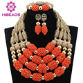 Latest  African Coral Jewelry Beads Set Luxury 4 Steps Nigerian Wedding Bridal Statement Jewelry Set 2017 Women Gift CNR641